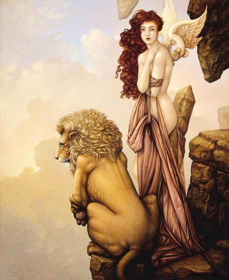 The Last Lion German Etching Giclee on Canvas Michael Parkes